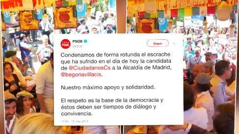 Tuit del PSOE sobre el escrache a PP y C's en San Isidro.