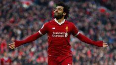 Salah, celebra un gol. (Getty)