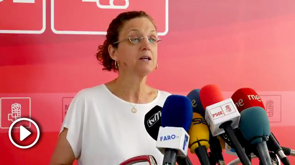 Gloria Rojas, secretaria del PSOE de Melilla, en rueda de prensa.