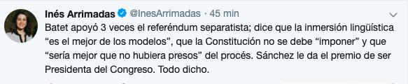 Arrimadas critica que Sánchez