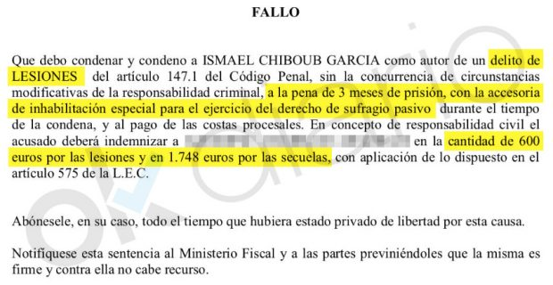 El socialista Ismael Chiboub García fue condenado por pegarle una brutal paliza a un menor de edad