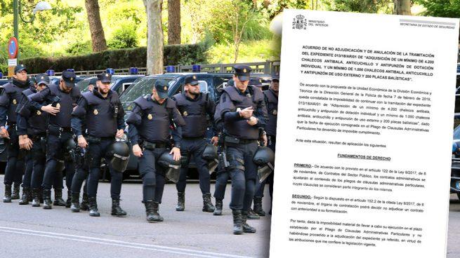 Marlaska deja sin chalecos antibalas a los policías en prácticas
