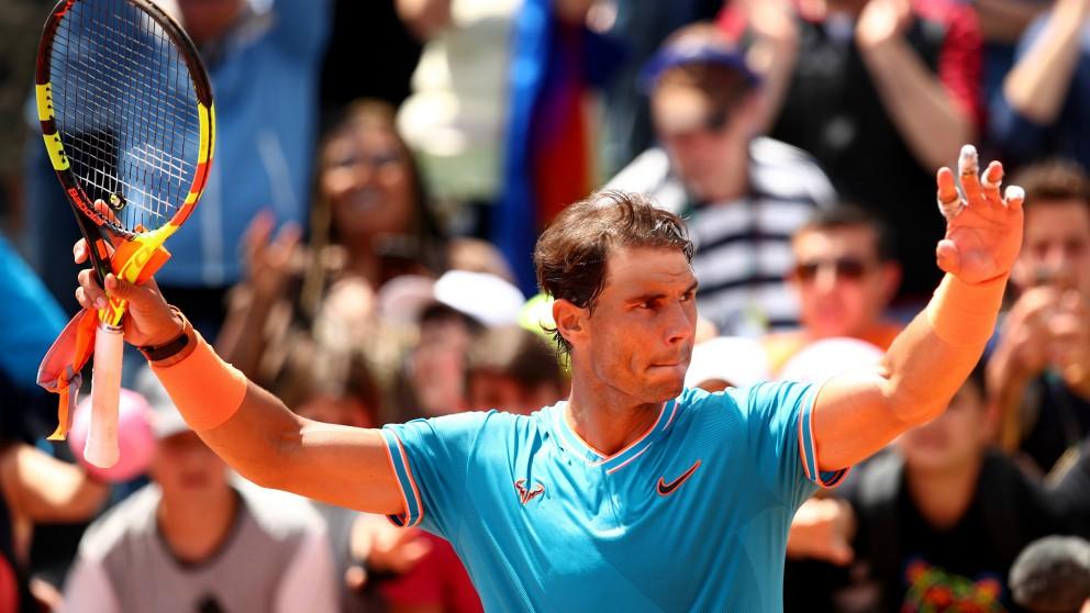 Rafa Nadal celebra una victoria en Roma. (Getty)