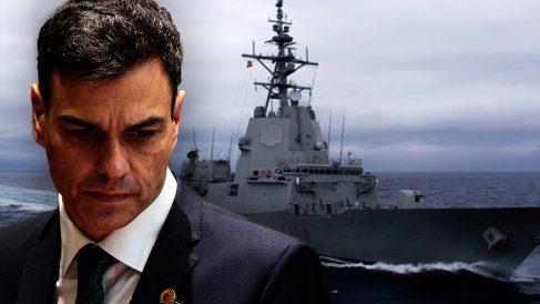 Pedro Sánchez y la fragata 'Méndez Núñez'.