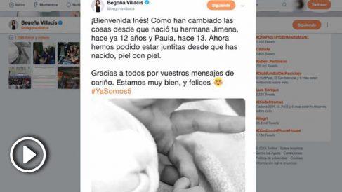 El mensaje colgado en las redes sociales con el que Begoña Villacís anuncia el nacimiento de su tercera hija