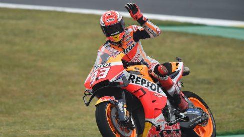 Marc Márquez celebra su pole en el GP de Francia. (AFP)
