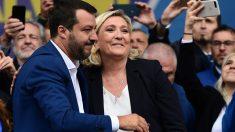 Matte Salvini y Marine Le Pen en la plaza de la Catedral de la ciudad italiana de Milán en un acto de cierre de campaña con vistas a las inminentes elecciones europeas. Foto: AFP