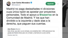 Mensaje publicado por Juan Carlos Monedero este sábado en Twitter.
