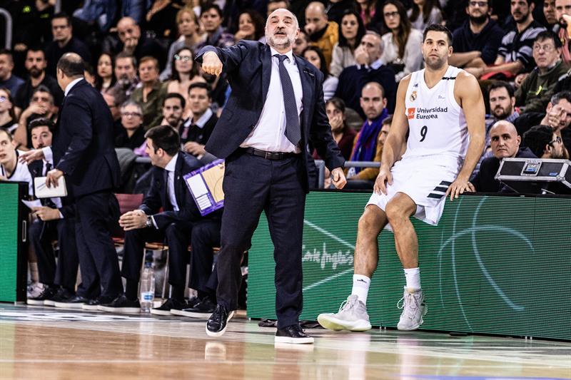 Felipe Reyes y Pablo Laso en un partido de esta temporada.