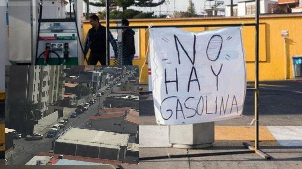 Una gasolinera desabastecida alerta de que no hay gasolina, y al izquierda una de las largas colas para repostar que llegan a durar entre 5 y 6 horas. Foto: Twitter