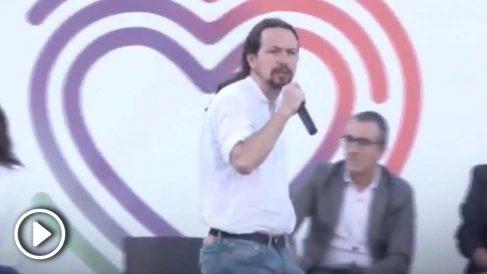 Pablo Iglesias, durante un acto electoral celebrado este domingo.
