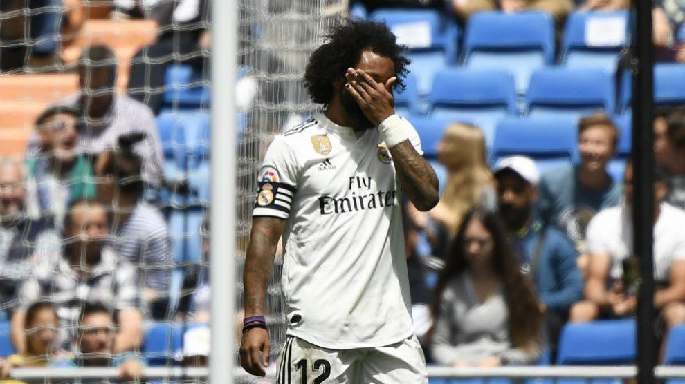 Marcelo, en el partido contra el Betis. (AFP)