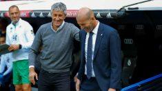 Quique Setién y Zinedine Zidane (EFE)