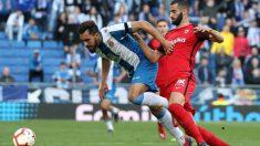 Borja Iglesias en un partido ante el Sevilla (@BorjaIglesias9)