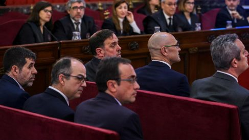 Los presos independentistas en el Supremo. Foto: Europa Press