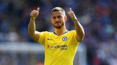 Eden Hazard, durante el último partido que disputó con el Chelsea, ante el Leicester (Getty).