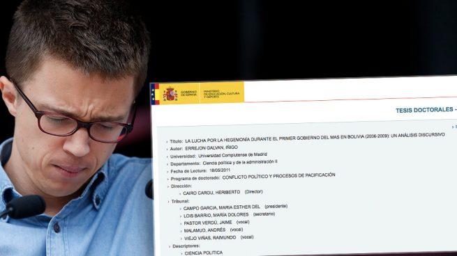 Errejón dio las gracias en su tesis a cuatro de los cinco doctores que luego le otorgaron el 'cum laude'