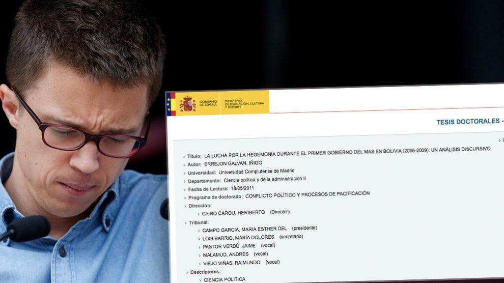 Errejón tenía estrecha relación con cuatro de los cinco evaluadores de su tesis doctoral.