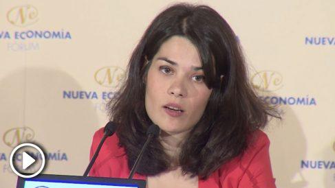 Isabel Serra, candidata de Podemos en Madrid, en un desayuno informativo el 13 de mayo. @EP