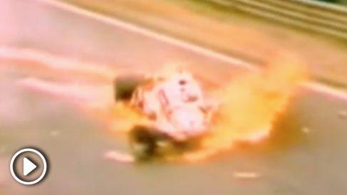 Así quedó el coche de Niki Lauda tras su accidente en Nurburgring.