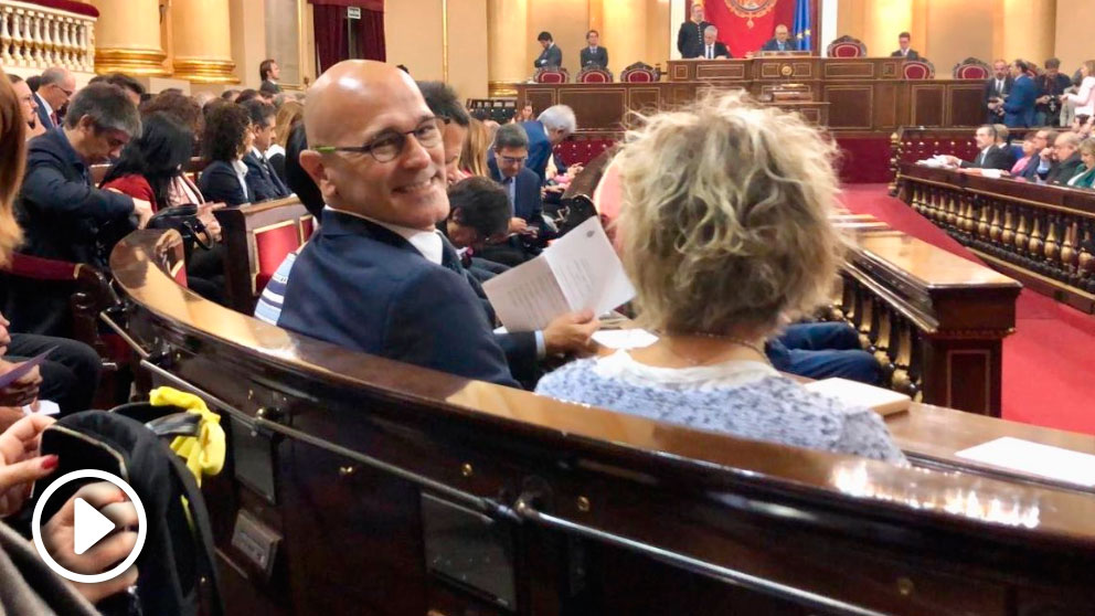 Raül Romeva en el Senado. Foto: EFE