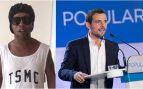 Ronaldinho, en el vídeo, y Manu Reyes, del PP.