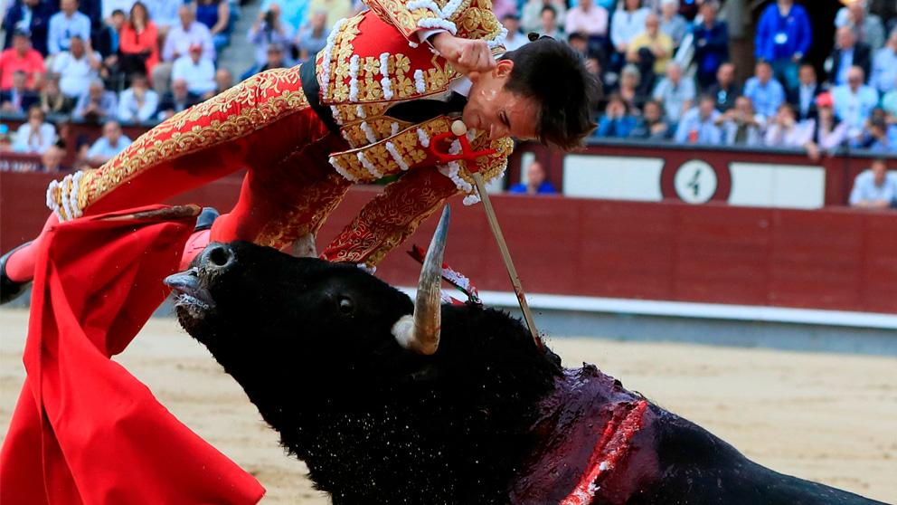 El diestro Gonzalo Caballero sufre una cogida al entrar a matar a su primer toro durante el octavo festejo de la Feria de San Isidro (EFE)