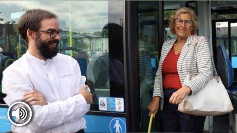 Manuela Carmena y el gerente de la EMT, Álvaro Fernández Heredia