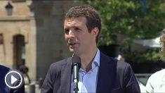 El presidente PP, Pablo Casado, interviene en un acto electoral en apoyo a la candidata del PP a la Comunidad de Madrid, Isabel Díaz Ayuso, esta tarde en Collado Villalba. Foto: EFE