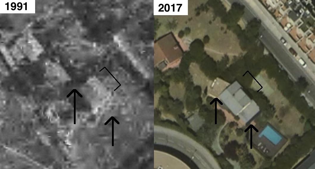 Fotos aéreas de la vivienda de Pepu. En la más reciente se aprecian las ampliaciones que se hicieron sin licencia aumentando la superficie construida