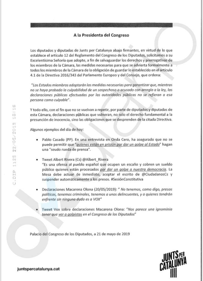 """Los diputados golpistas exigen a Batet """"las medidas necesarias"""" para que PP, C's y Vox les muestren"""