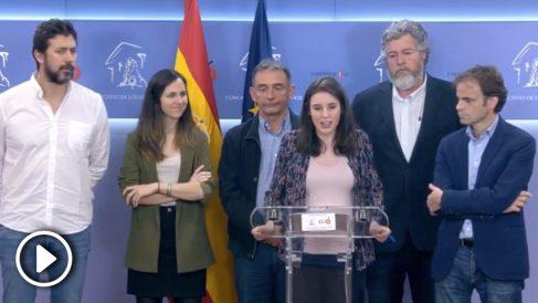 Irene Montero, en la primera rueda de prensa de Unidas Podemos en esta legislatura.