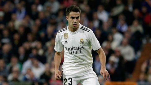 Sergio Reguilón durante un partido del Real Madrid esta temporada (Getty).