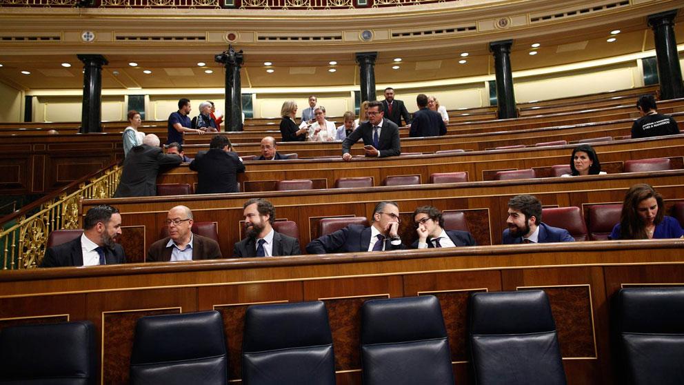 Diputados de Vox, con su líder, Santiago Abascal, el día de la constitución del Congreso. (Foto: EP)
