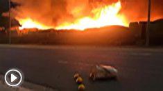 Incendio en un poblado chabolista de la localidad andaluza de Lepe, en Huelva. Foto: Twitter