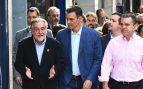 psoe Pepu Hernández este jueves en Usera con Pedro Sánchez y José Manuel Franco.