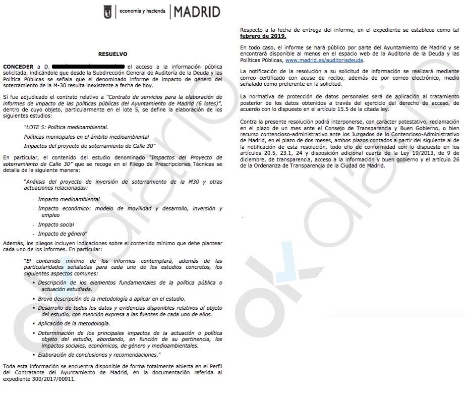 Respuesta del Ayuntamiento sobre los informes de la Auditoría.