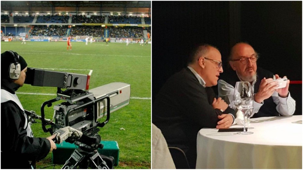 Tebas y Roures quieren el control absoluto de los derechos televisivos en el fútbol español.