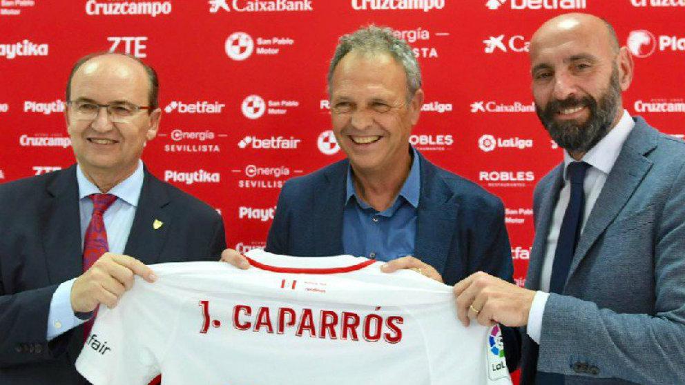 José Castro, Joaquín Caparrós y Monchi en la despedida del utrerano (@SevillaFC)