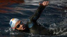 David Meca, durante una prueba de aguas abiertas. (AFP)