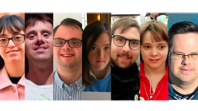 Siete discapacitados intelectuales que concurren a las elecciones del 26-M bajo diferentes siglas de partidos políticos. Foto: EP