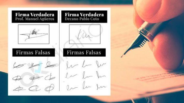 Las firms falsificadas de la Universidad de Cantabria