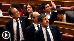 José Rull, Jordi Turull y Jordi Sánchez en el Congreso