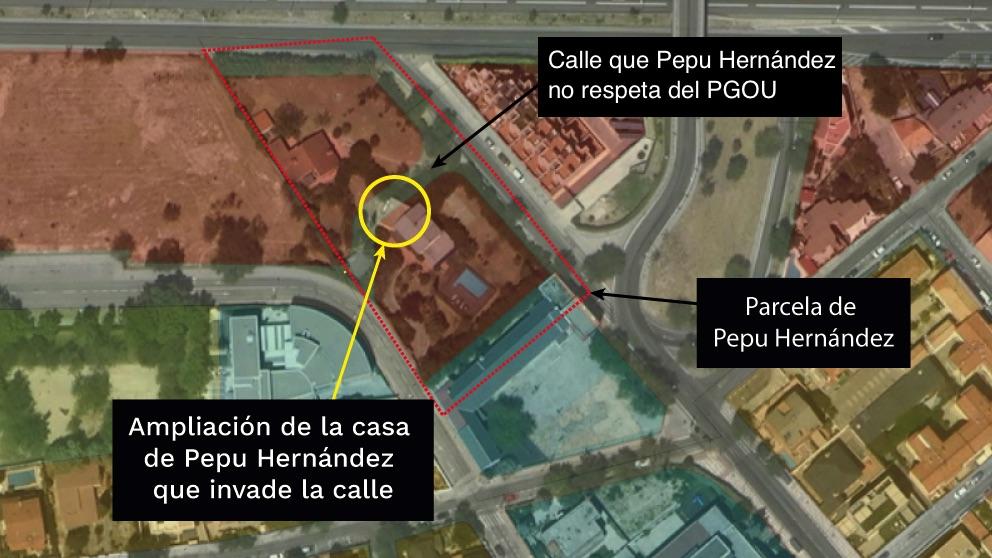 Imagen del Visor Urbanístico de la Comunidad de Madrid que muestra la calle invadida.