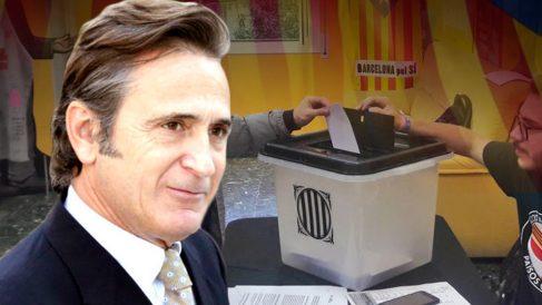 El primogénito del clan Pujol, Josep Pujol Ferrusola, junto a una urna del referéndum ilegal.