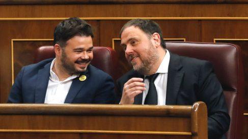 Oriol Junqueras, con Gabriel Rufián, en el Congreso.