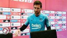 Leo Messi en la rueda de prensa previa a la final de la Copa del Rey. (AFP)