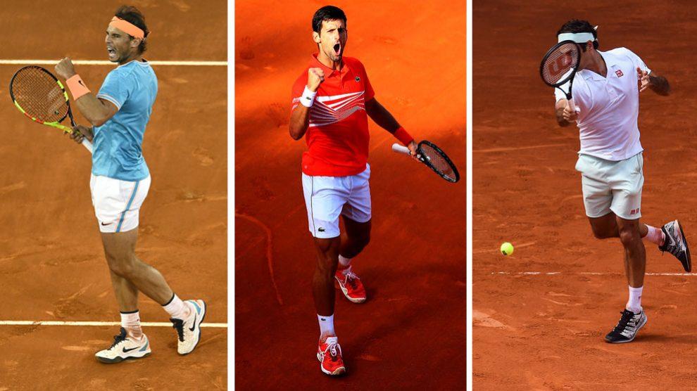 Nadal,-Djokovic-y-Federer-durante-esta-gira-de-tierra-(Getty-y-AFP)