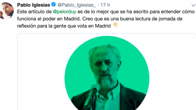 Iglesias carga congtra Luis Cueto, cargo de Manuela Carmena