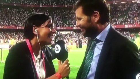 Mateu Alemany, director deportivo del Valencia, hace una cobra a una periodista (Captura de pantalla)
